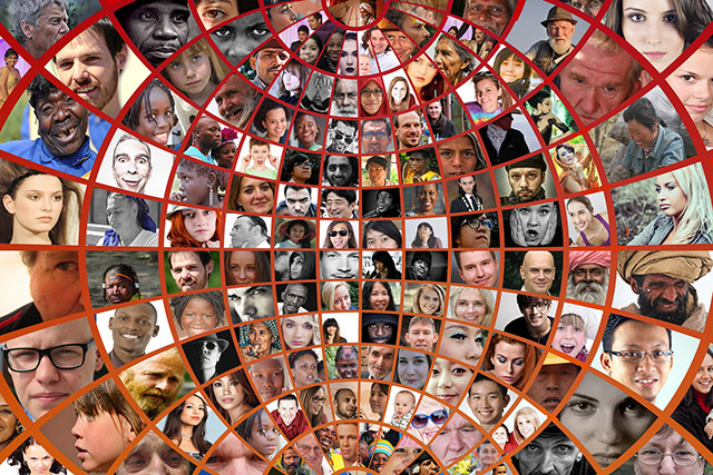 public domain image, a collage of many different types of faces throughout the world