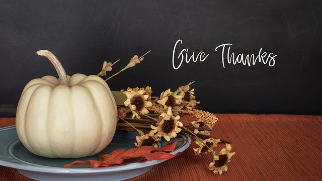 Thanksgiving wishes on chalkboard with white pumpkin