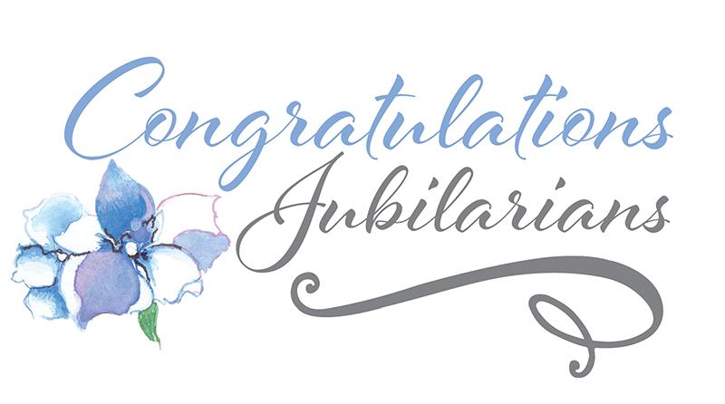 artwork that says 'Congratulations Jubilarians'